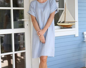 Oversized linen tunica. Women's dress. Long shirt. Washed, soft linen dress.