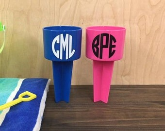 Circle Monogram Beach Sand Spiker Drink Holder Custom Personalized