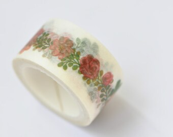 Red Flowers Washi Tape / Decorative Tape / Japanese Masking Tape 20mm wide x 5m long (0.8 inch wide x 5.5 yards long) No. 12013