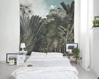 Botanical Tapestry, Illustration Art, Vintage Tapestry, Plants Tapestry, Wall Decorating, Tropical Decor, Dorm Tapestry