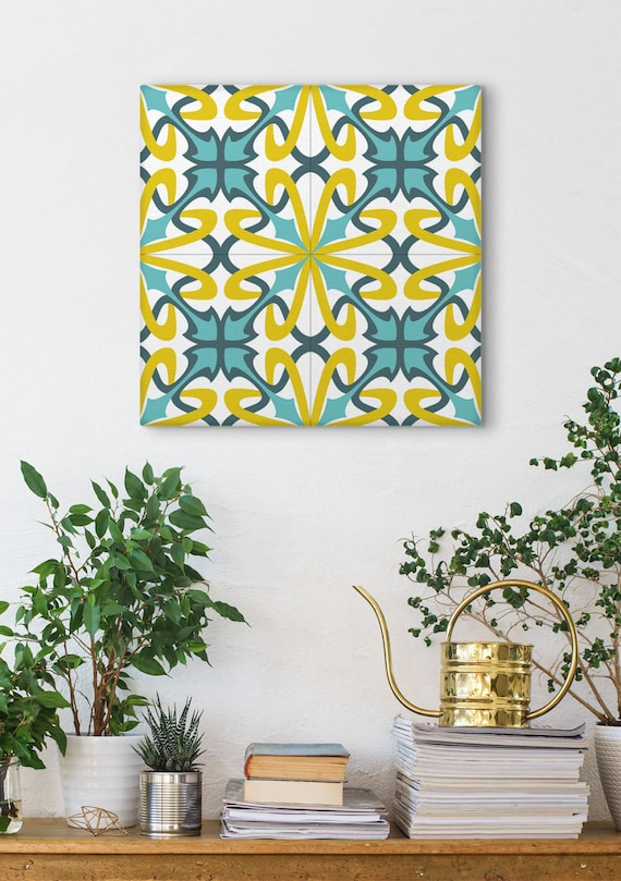 Tile Design Print, Wall Decoration. Blue And Yellow, Barcelona Tiles, Modernist Decor, Canvas Print