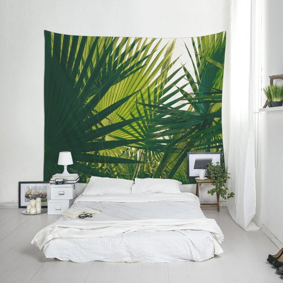 Palm Leaf Tapestry, Dorm Decoration, Green Decor, Home Decorating, Affordable Wall Art, Fabric Tapestry