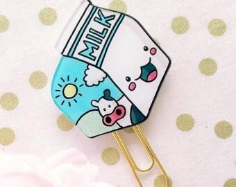 Sweet Kawaii Happy Milk Carton - Planner Clips
