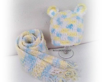Crochet hat and scarf, Crochet baby set, rainbow set, Crochet hat, Crochet scarf, Kids hat and scarf, Baby Girl boy set, Baby hat and scarf