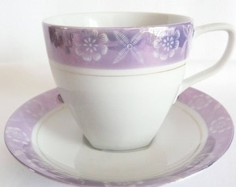 White and Purple Lusterware Tea Cup and Saucer Made in Japan