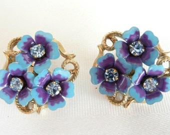 Vintage Avon Enamel and Rhinestone Clip on Earrings  Love Blossom Pattern