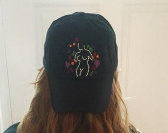 Female Silhouette Floral Embroidered Baseball Cap