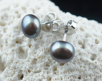 Bolt Stud Earrings 925 Sterling silver with light gray silver tone natural Pearl Freshwater mother Fashion Earrings Adult Child baby  bb64