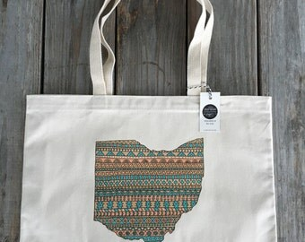 Ohio Tote, Tribal Market Bag, Eco Friendly Canvas Tote