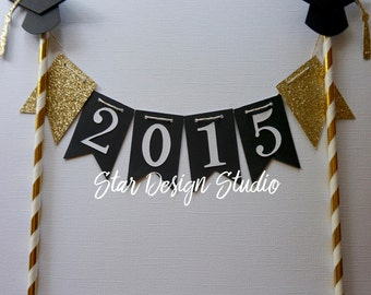 Graduation Cake topper Gold  Cake Topper bunting- Glitter Gold and Pink, Any age and name available
