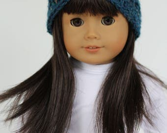 """Crochet Headband for Dolls, to fit like American Girl Dolls Clothes, 18"""" doll accessories, doll clothes"""
