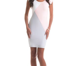 Olivia Pink, White and Grey Color Block Dress