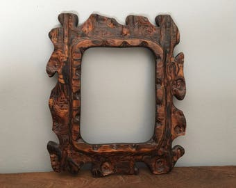 Wood Picture Frame Rustic Reclaimed Carved