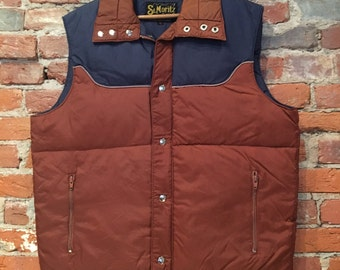 Vintage Puffy Vest by St. Moritz Navy and Rust Large
