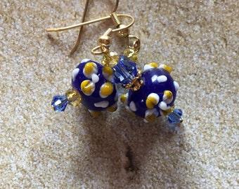 Blue Lampwork Earrings Yellow Flower Earrings, Lampwork Earrings, Beadwork Earrings, Glass Bead Jewelry, Flower Earrings