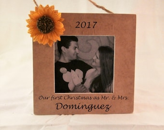 Personalized wedding ornament first christmas ornament married sunflower