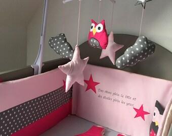 Round bed baby pink star theme, fushia and grey