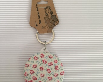 fabric keychain, button keychain with mirror, vintage fabric