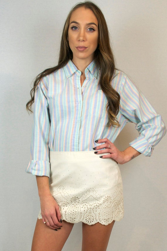 Vintage 70s 80s Pastel Pink Blue Green Striped Button Down Long Sleeve Collared Shirt