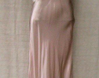 Vintage CORETTE Pink Satin Slip pink and blue trim