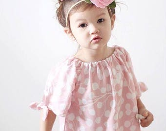 Spring blossom floral headband / pink and minty blue / felt flower headband / Ashlyn