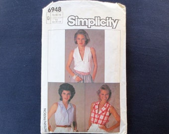 1985 Sleeveless Top Vintage Pattern, Simplicity 6948, Size 12, 14, 16, Bust 34, 36, 38