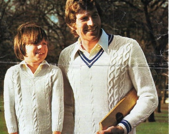 Vintage mens cricket sweater knitting pattern pdf DK mans cable v neck jumper 24-46 inch DK light worsted 8ply Instant Download