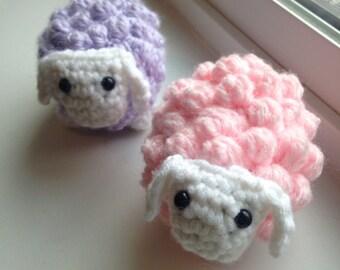 Pastel Crochet Sheep Plush, Baby Amigurumi Lamb Stuffed Animal (Pink, Purple, or Blue)