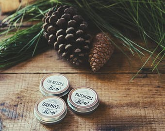 Set of 3 Single Note Solid Perfumes | Oakmoss, Patchouli and Fir Needle