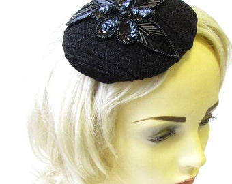 Black Sequin Bead Hat Fascinator Races Ascot Headpiece Vintage Art Deco 1613