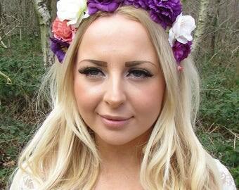 Purple Cream Peach Pink Rose Flower Garland Headband Hair Crown Festival 2217