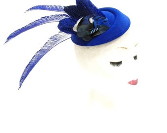 Royal Blue White Feather Pillbox Hat Hair Fascinator Races Ascot Headpiece 2287
