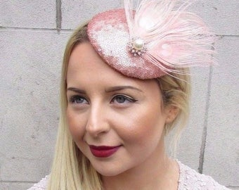 Rose Gold Blush Pink Sequin Feather Pillbox Hat Fascinator Hair Clip Vtg 2684