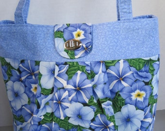 Handbag Purse Women's Accessories Fabric Handmade Blue Petunia Print