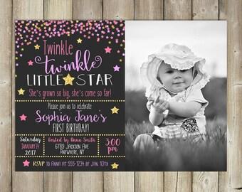 Twinkle Twinkle Little Star - Girls Birthday Invitation - DIGITAL FILE