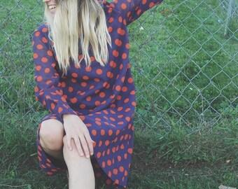 1960s Orange and Purple Polka-dot Long Sleeve Shift Dress