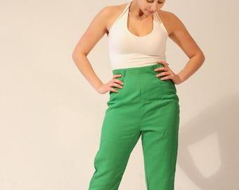 Green Pants 70s Pants High Waist Green Cropped Pants Green Capri Pants Small Green Pants Vintage Pants Very High Waist Side Slit Pants