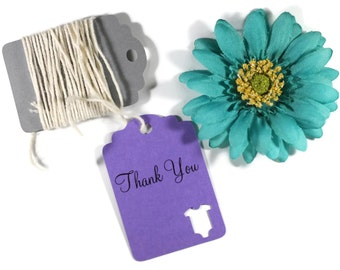 Purple Baby Shower Tags Set of 20 - Personalized Plum Shower Favors - Die Cut Baby One Piece Gift Tags - Neutral Baby Shower Thank You Tags