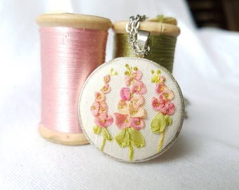Ribbon embroidery necklace Flower pendant Hollyhock flower necklace Silk ribbon pendant