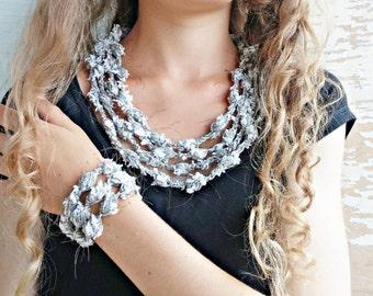 Multithread chain crochet jewelry set with popcorn stich, crochet design, fiber jewelry, textile jewelry, boho style, christmas gift
