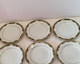 Noritake Plates ~ Warrington #6872 ~ Green and Gold ~ Set of Six ~ Small Plates~ Bread and Butter Plate ~ Japan ~ Discontinued ~ Vintage