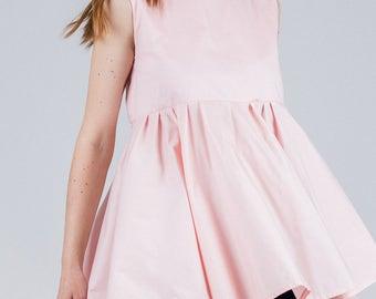 Light pink tunic / Woman's open back summer tunic / Oversized sleeveless pink dress / Woman's open back full circle tunic / Fasada 1747