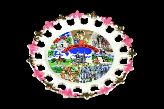 Ste. Anne De Beaupre, Souvenir Plate, Giftcraft, Decorative Plate, Reticulated, Pink and Gold Brushed Scalloped Edge, Quebec, Canada
