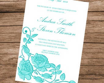 Printable Wedding Invitation Template, DIY Aquamarine Roses Invitation Card, DOWNLOAD INSTANTLY, Editable Text & Colors, 5x7