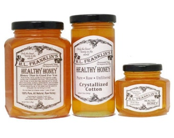 Pure, Raw, Unfiltered Crystalized Cotton Honey - Never Heated or Processed - H.L. Franklin's Healthy Honey
