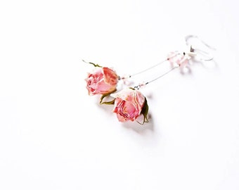 English garden rose jewelry, Boho Dangle rose earrings, Shabby dangle gift, Pink rose dangle, lovely floral jewelry, women gift Bohemian