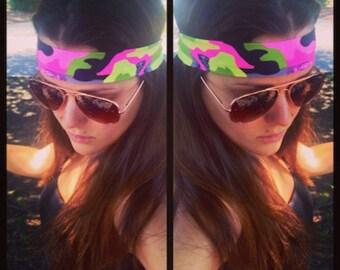 Preppy Camo ~ #248 Camo Headband, Women's Camo, Pink Camo, Camouflage Headband, Hunting Headband, Camo, Running Headband, Fitness Headband