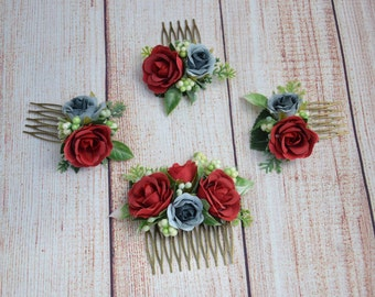 Red rose flower comb Bridal hair comb Wedding hair piece Bridal hair accessories Bridal hair piece Bridesmaid hair comb Flower girl comb