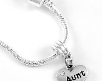 Aunt Bracelet  Aunt Charm Bracelet  Aunt jewelry  European style bracelet Aunt Gift