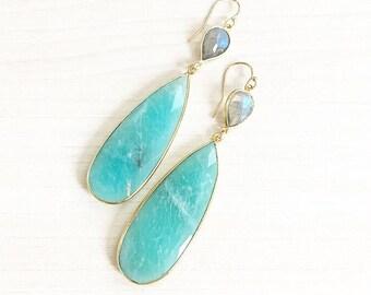 Teardrop Amazonite & Labradorite Earrings // Gemstone Earrings // Teardrop Earrings // Labradorite Earrings // Gold Earrings